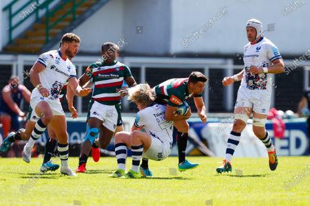 Ben Youngs of Leicester Tigers is tackled by Dan Thomas of Bristol Bears; Mattioli Woods Welford Road Stadium, Leicester, Midlands, England; Gallagher Premiership Rugby, Leicester Tigers versus Bristol Bears.