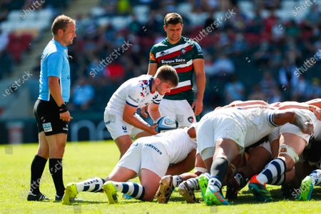Harry Randall of Bristol Bears puts the ball into a scrum under the watchful eye of Referee Ian Tempest and Ben Youngs of Leicester Tigers; Mattioli Woods Welford Road Stadium, Leicester, Midlands, England; Gallagher Premiership Rugby, Leicester Tigers versus Bristol Bears.