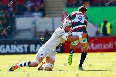 Dave Attwood of Bristol Bears tackles Ben Youngs of Leicester Tigers; Mattioli Woods Welford Road Stadium, Leicester, Midlands, England; Gallagher Premiership Rugby, Leicester Tigers versus Bristol Bears.