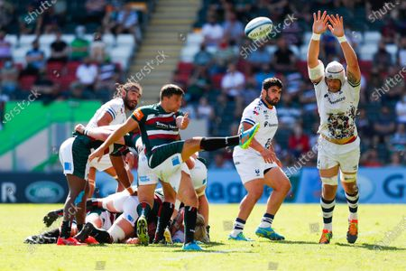 Ben Youngs of Leicester Tigers box kicks clear under pressure from Dave Attwood of Bristol Bears; Mattioli Woods Welford Road Stadium, Leicester, Midlands, England; Gallagher Premiership Rugby, Leicester Tigers versus Bristol Bears.