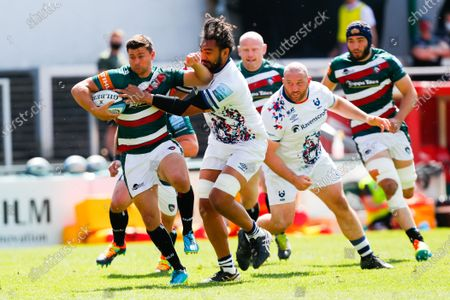 Ben Youngs of Leicester Tigers attempts to break past Chris Vui of Bristol Bears; Mattioli Woods Welford Road Stadium, Leicester, Midlands, England; Gallagher Premiership Rugby, Leicester Tigers versus Bristol Bears.