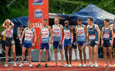 Mo Farah Lines up for the Olympic Trials; Birmingham University Athletics Track, Birmingham, Midlands, England; European 10000 Metre Finals, British Olympic Trials 10000 Metre.