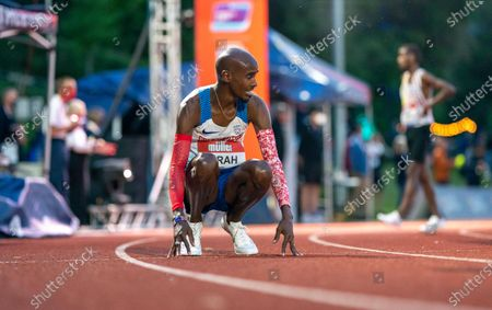 Mo Farah is beaten by Marc Scott and fails to run the Olympic Qualifying time; Birmingham University Athletics Track, Birmingham, Midlands, England; European 10000 Metre Finals, British Olympic Trials 10000 Metre.