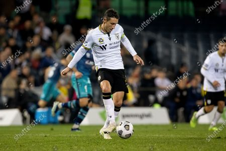 Stock Picture of Mark Milligan of Macarthur FC passes the ball