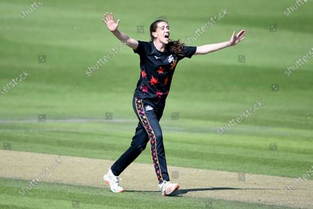 Emily Arlott of Central Sparks successfully appealing for the wicket of Carla Rudd during the Rachael Heyhoe Flint Trophy match between Southern Vipers and Central Sparks at The 1st Central County Ground, Hove