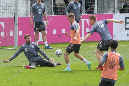 Joshua Kimmich (Germany #6) to score goal against goalkeeper Kevin Trapp (Germany #22)