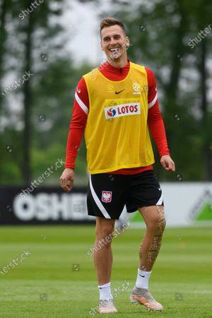 Polish national soccer team player Arkadiusz Milik in action during a training session in Opalenica, Poland, 04 June 2021. Poland is preparing for the UEFA EURO 2020 tournament and will face Spain, Sweden and Slovakia in their Group E.