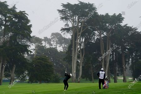 Michelle Wie West hits from the ninth fairway during the second round of the U.S. Women's Open golf tournament at The Olympic Club, in San Francisco