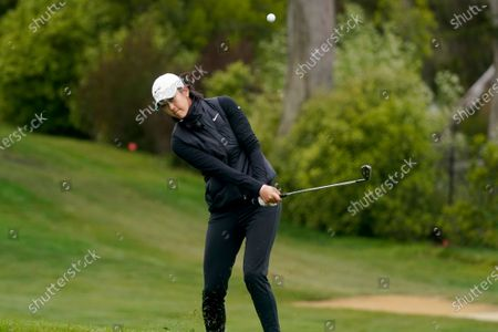 Michelle Wie West chips onto the 14th green during the second round of the U.S. Women's Open golf tournament at The Olympic Club, in San Francisco
