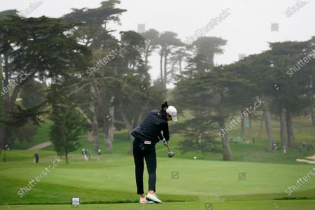 Michelle Wie West plays her shot from the 11th tee during the second round of the U.S. Women's Open golf tournament at The Olympic Club, in San Francisco