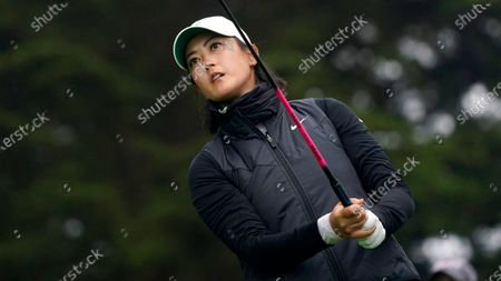 Michelle Wie West plays her shot from the 10th tee during the second round of the U.S. Women's Open golf tournament at The Olympic Club, in San Francisco