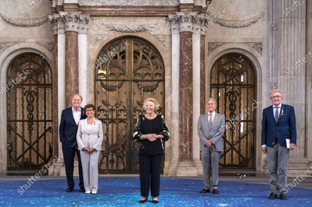 Stock Picture of Dutch Princess Beatrix (C) poses at the Royal Palace with the 2021 laureates (L-R) the married couple Janine and Joop van den Ende, Barend van Benthem and John Veenstra, after the presentation of the Silver Carnations of the Prince Bernhard Cultuurfonds in Amsterdam, the Netherlands, 04 June 2021. Both the 2021 and the 2020 laureates received their Silver Carnations during the ceremony as the presentation of the awards was postponed in 2020 due to the coronavirus COVID-19 pandemic.