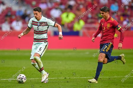 Jose Fonte of Portugal and Alvaro Morata of Spain