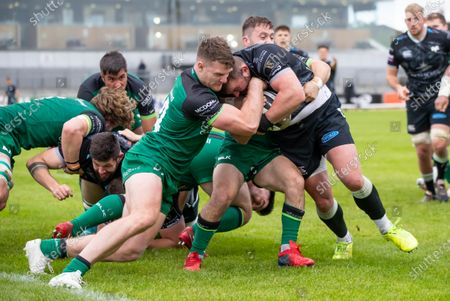 Stock Picture of Connacht vs Ospreys. Connacht's Peter Sullivan with Sam Parry of Ospreys