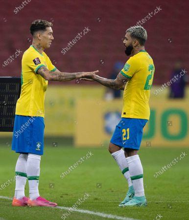 Roberto Firmino comes on for Gabriel Barbosa of Brazil; Beira-Rio Stadium, Porto Alegre, Brazil; World Cup 2022 qualifiers; Brazil versus Ecuador.