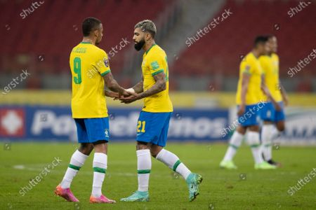 Gabriel Jesus comes on for Gabriel Barbosa of Brazil; Beira-Rio Stadium, Porto Alegre, Brazil; World Cup 2022 qualifiers; Brazil versus Ecuador.