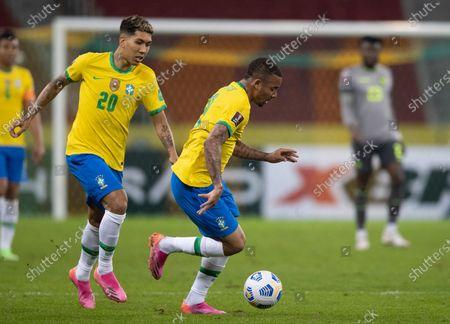 Gabriel Jesus and Roberto Firmino of Brazil; Beira-Rio Stadium, Porto Alegre, Brazil; World Cup 2022 qualifiers; Brazil versus Ecuador.