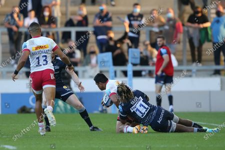 Stock Photo of Sale Sharks Marland Yarde during the Gallagher Premiership Rugby match between Sale Sharks and Harlequins at the AJ Bell Stadium, Eccles