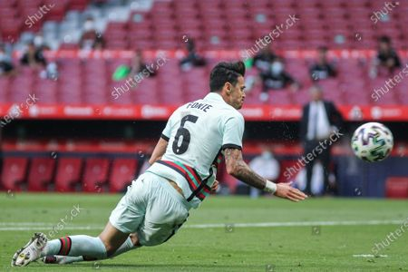 Jose Fonte of Portugal in action during the international friendly match played between Spain and Portugal at Wanda Metropolitano stadium on Jun 04, 2021 in Madrid, Spain.