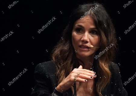 """Spanish actress, Goya Toledo is seen speaking during a press conference of the film """"La Fortaleza"""" at Picasso Museum. The new edition of the 24th Malaga Spanish Film Festival, great cinematographic event in Spain, present the films candidates to win the 'Biznaga de Oro' prize, following all measures to prevent the spread of coronavirus and to guarantee a secure event. The festival will be held from 3 to 13 June."""