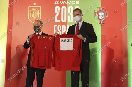 King Felipe VI of Spain, Marcelo Rebelo de Sousa attends attend the friendly football match between the national teams of Spain and Portugal in preparation for Euro 2020 at Wanda Metropolitano Stadium on June 4, 2021 in Madrid, Spain