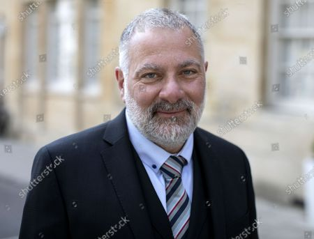 Stock Photo of British television writer, producer, director, novelist and creator of Line of Duty Jed Mercurio poses for a picture outside the Oxford Union where he was guest speaker.