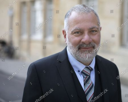 Stock Picture of British television writer, producer, director, novelist and creator of Line of Duty Jed Mercurio poses for a picture outside the Oxford Union where he was guest speaker.