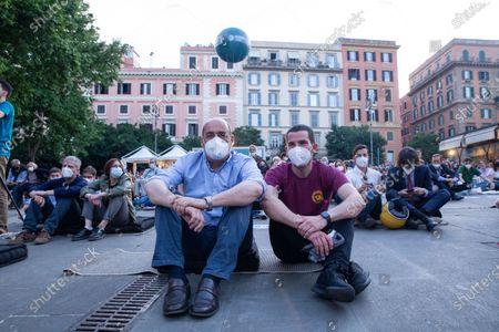 """Nicola Zingaretti and Valerio Carocci during opening evening of the 2021 edition of the cinema festival """"Il Cinema in Piazza"""" in Piazza San Cosimato in Rome"""