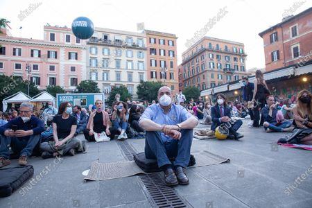 """Nicola Zingaretti during opening evening of 2021 edition of cinema festival """"Il Cinema in Piazza"""" in Piazza San Cosimato in Rome"""