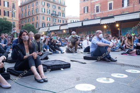 """Virginia Raggi and Nicola Zingaretti during opening evening of 2021 edition of cinema festival """"Il Cinema in Piazza"""" in Piazza San Cosimato in Rome"""