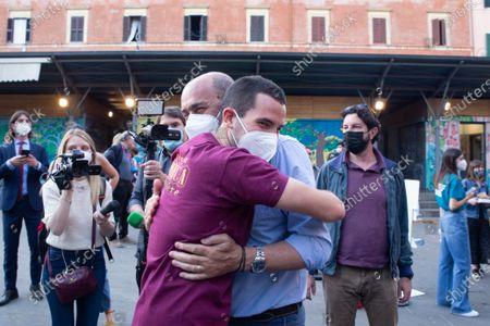 """Nicola Zingaretti and Valerio Carocci during opening evening of 2021 edition of cinema festival """"Il Cinema in Piazza"""" in Piazza San Cosimato in Rome"""
