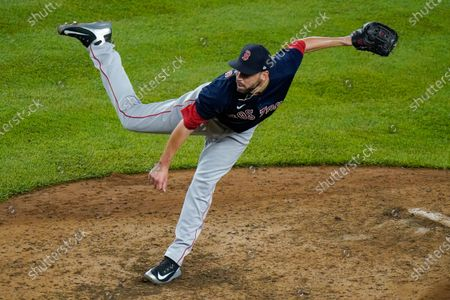 Boston Red Sox's Matt Barnes delivers a pitch during the ninth inning of a baseball game against the New York Yankees, in New York