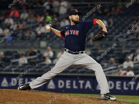 Boston Red Sox relief pitcher Matt Barnes releases a pitch in the ninth inning of the MLB baseball game between the Boston Red Sox and New York Yankees at Yankee Stadium in the Bronx, New York, USA, 04 June 2021.