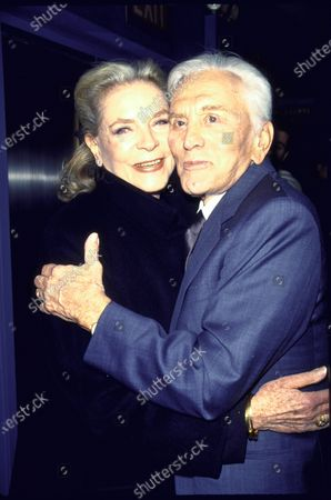 Actors Lauren Bacall and Kirk Douglas at film premiere of their Diamonds.