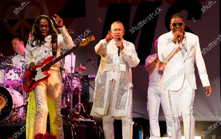 From left; Verdine White, Ralph Johnson and Philip Bailey of Earth, Wind & Fire perform at the Race to Erase MS drive-in event at the Rose Bowl, in Pasadena, Calif
