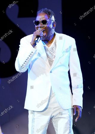 Philip Bailey of Earth, Wind & Fire performs at the Race to Erase MS drive-in event at the Rose Bowl, in Pasadena, Calif