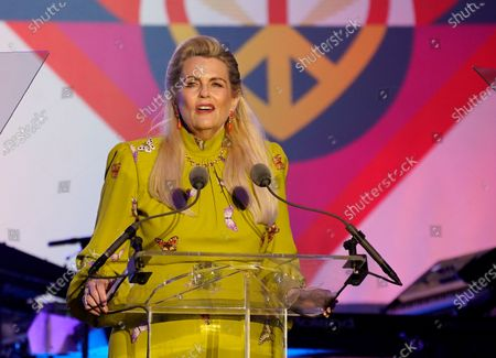 Nancy Davis speaks at the Race to Erase MS drive-in event at the Rose Bowl, in Pasadena, Calif