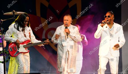 From left; Verdin White, Ralph Johnson and Philip Bailey of Earth, Wind & Fire perform at the Race to Erase MS drive-in event at the Rose Bowl, in Pasadena, Calif
