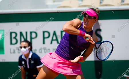 Nicole Melichar of the United States in action during the third doubles round of the 2021 Roland Garros Grand Slam Tournament