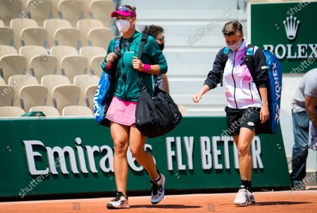 Nicole Melichar of the United States & Demi Schuurs of the Netherlands in action during the third doubles round of the 2021 Roland Garros Grand Slam Tournament