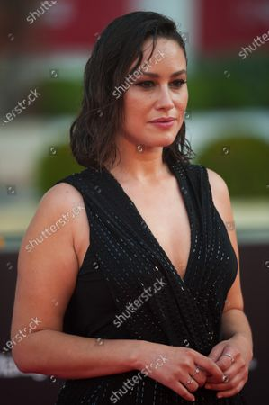 Stock Photo of Spanish actress, Aida Folch poses for photographers at the red carpet inside Miramar Hotel.