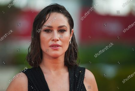 Stock Image of Spanish actress, Aida Folch poses for photographers at the red carpet inside Miramar Hotel.