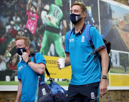 Stock Photo of England bowler Stuart Broad (right) and coach Paul Collingwood arrive at the ground