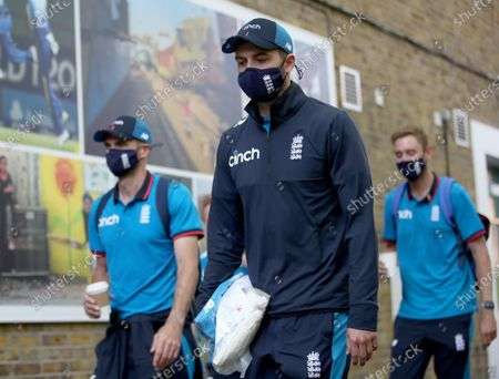 England players (l-r) James Anderson, Mark Wood and Stuart Broad arrive at the ground