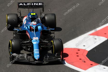 Stock Picture of French Formula One driver Esteban Ocon of Alpine F1 Team in action during the third practice session for the Formula One Grand Prix of Azerbaijan at the Baku City Circuit in Baku, Azerbaijan, 05 June 2021. The 2021 Formula One Grand Prix of Azerbaijan will take place on 06 June.