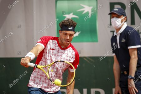 Marco Cecchinato of Italy in action during the 3rd round match against Lorenzo Musetti of Italy at the French Open tennis tournament at Roland Garros in Paris, France, 05 June 2021.