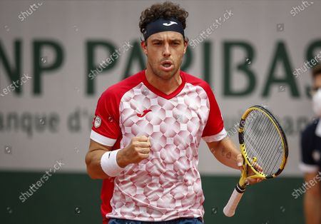Marco Cecchinato of Italy reacts during the 3rd round match against Lorenzo Musetti of Italy at the French Open tennis tournament at Roland Garros in Paris, France, 05 June 2021.