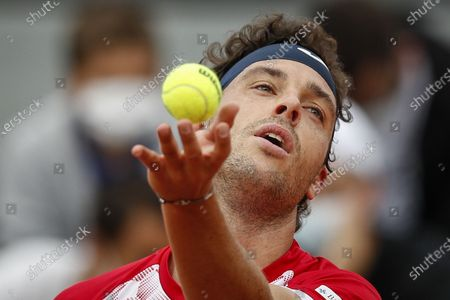Marco Cecchinato of Italy serves during the 3rd round match against Lorenzo Musetti of Italy at the French Open tennis tournament at Roland Garros in Paris, France, 05 June 2021.