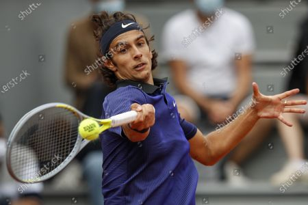 Lorenzo Musetti of Italy in action during the 3rd round match against Marco Cecchinato of Italy at the French Open tennis tournament at Roland Garros in Paris, France, 05 June 2021.