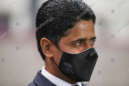 Paris Saint-Germain's President Nasser al-Khelaifi looks happy as players celebrate the title of champion after winning the French championship Arkema football match (3-0) against Dijon FCO at Jean Bouin stadium in Paris, FRANCE - 04/06/2021.